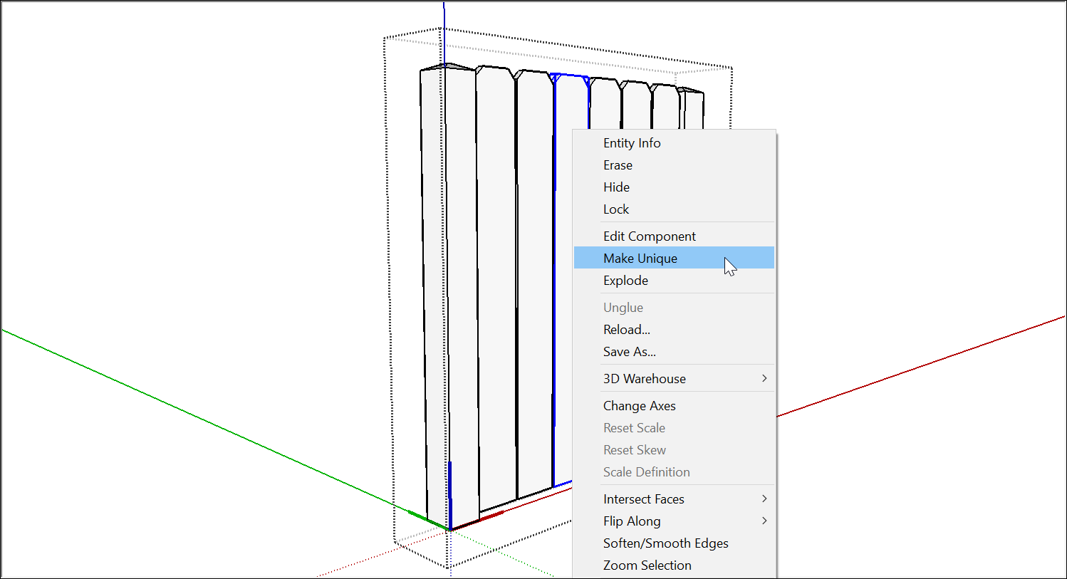 To edit one instance of a SketchUp component, choose Make Unique
