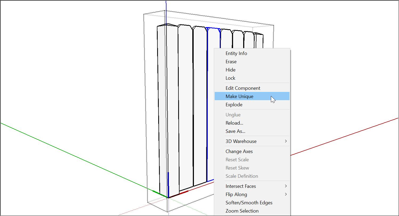 """要編輯SketchUp組件的一個實例,請選擇""""使唯一"""""""