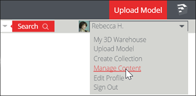In the 3D Warehouse, select Manage Content to access the bulk content management tools for catalogs