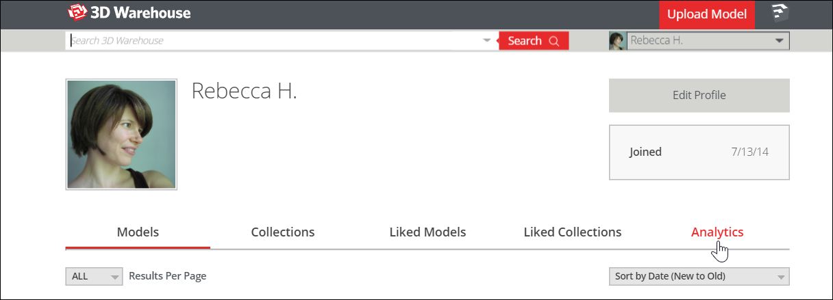Go to your My 3D Warehouse page to access catalog analytics