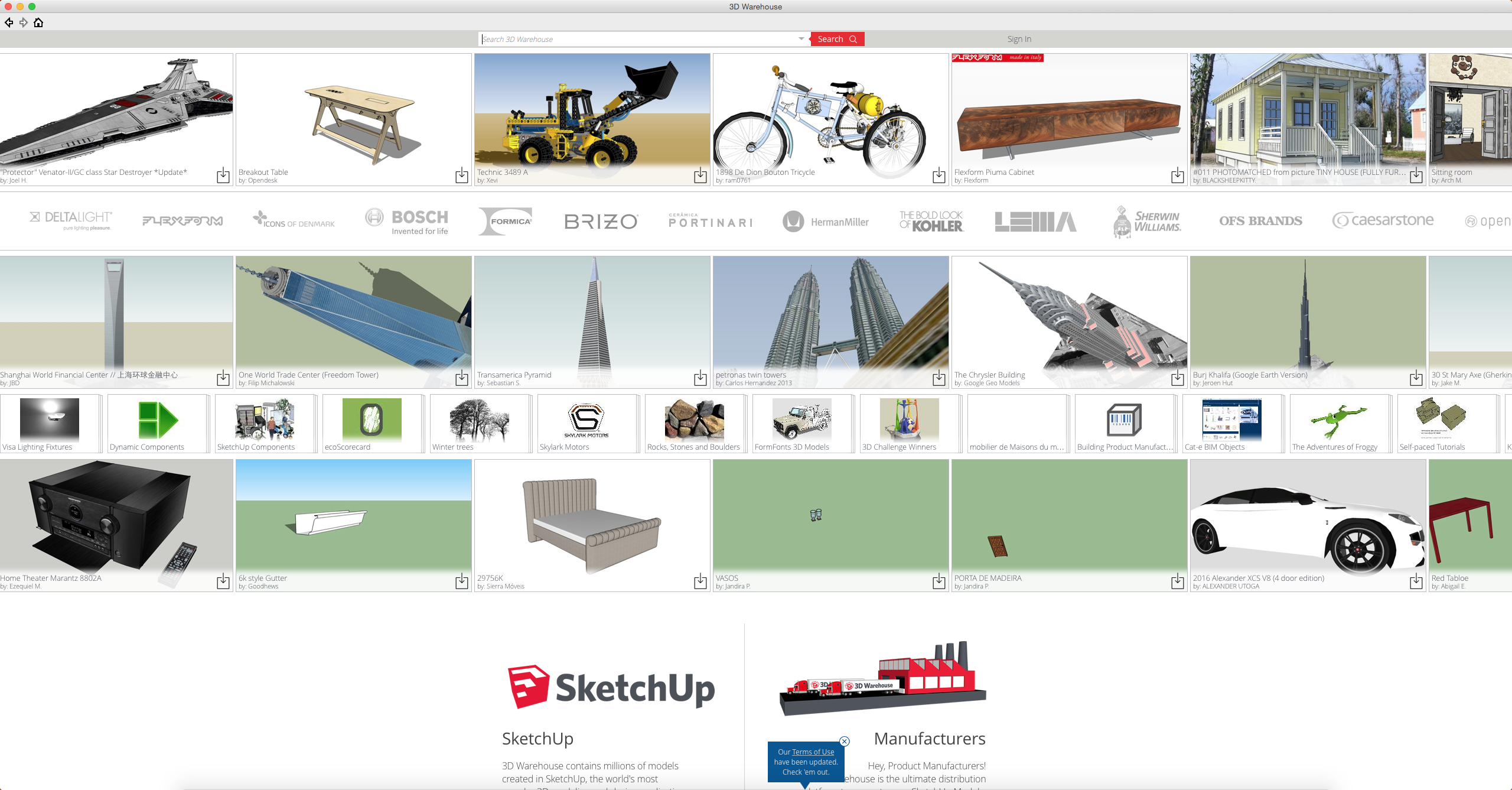 Download or share SketchUp models in the 3D Warehouse