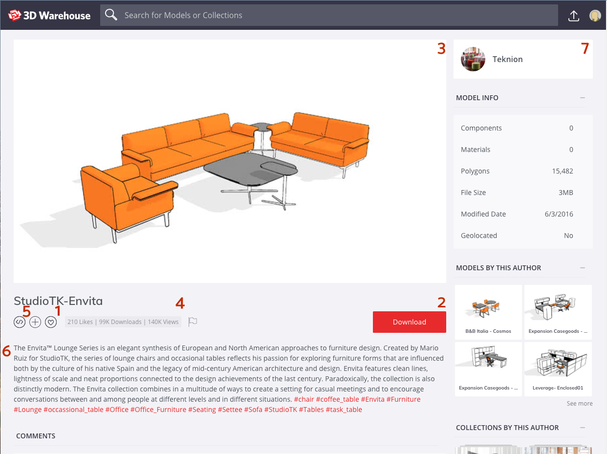 In 3D Warehouse, the model details page enables you to learn more about a model or download it.