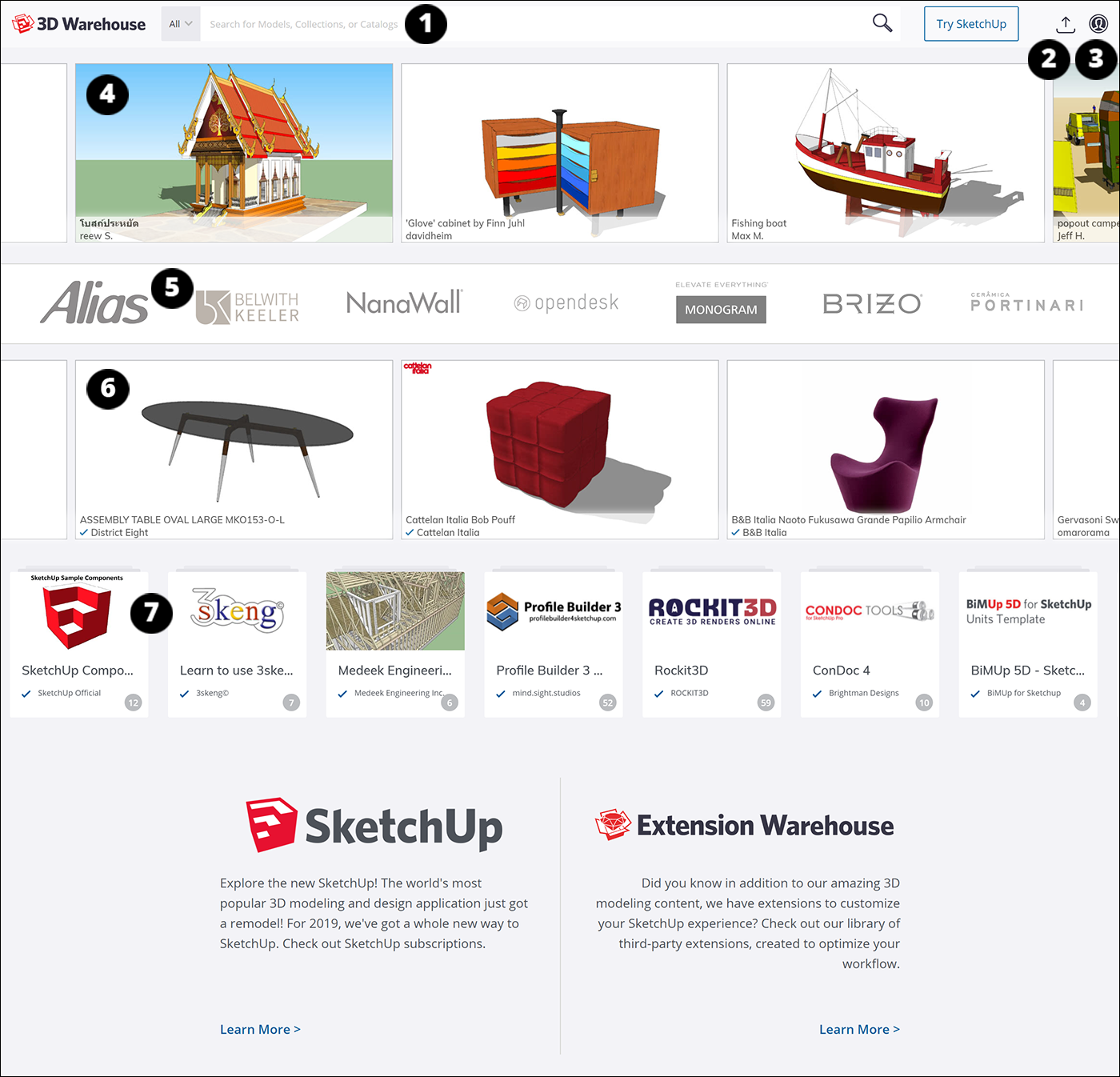 From the main page of 3D Warehouse, you can search for SketchUp models and materials based on keywords, brands, and more