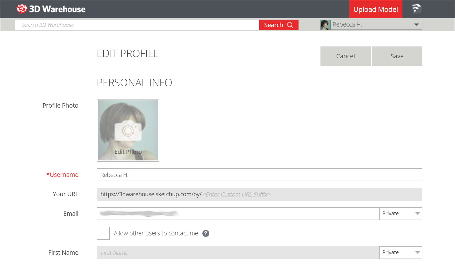 The Edit Profile page in 3D Warehouse