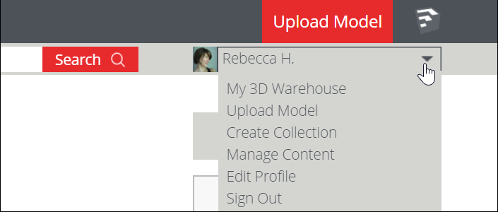 3D Warehouse user menu open to show each option, My 3D Warehouse, Upload Model, Create Collection, Manage Content, Edit Profile, and Sign Out