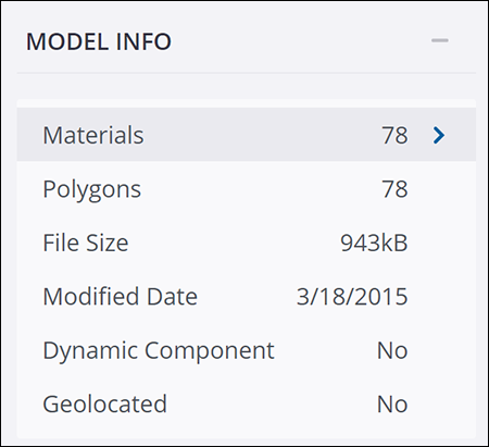 Click Materials in the Model Info panel on the 3D Warehouse model details page