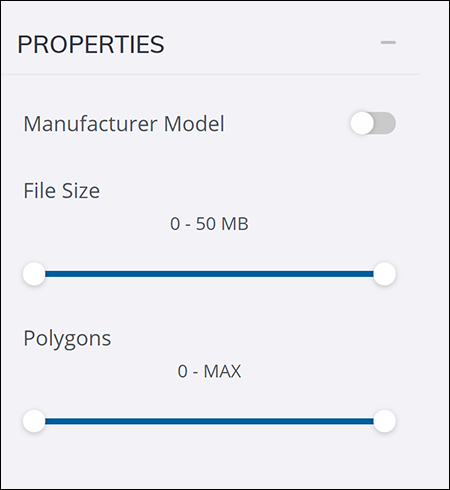 The Properties options on a 3D Warehouse search results page
