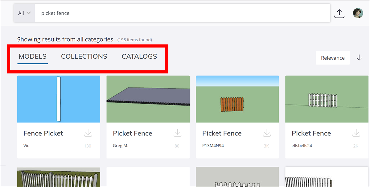 In 3D Warehouse, filter search results to show only models or collections