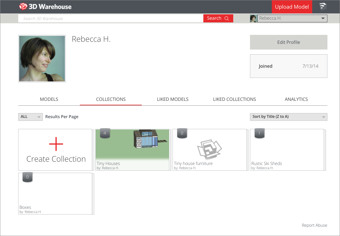 You can edit 3D Warehouse collections from the Collections screen