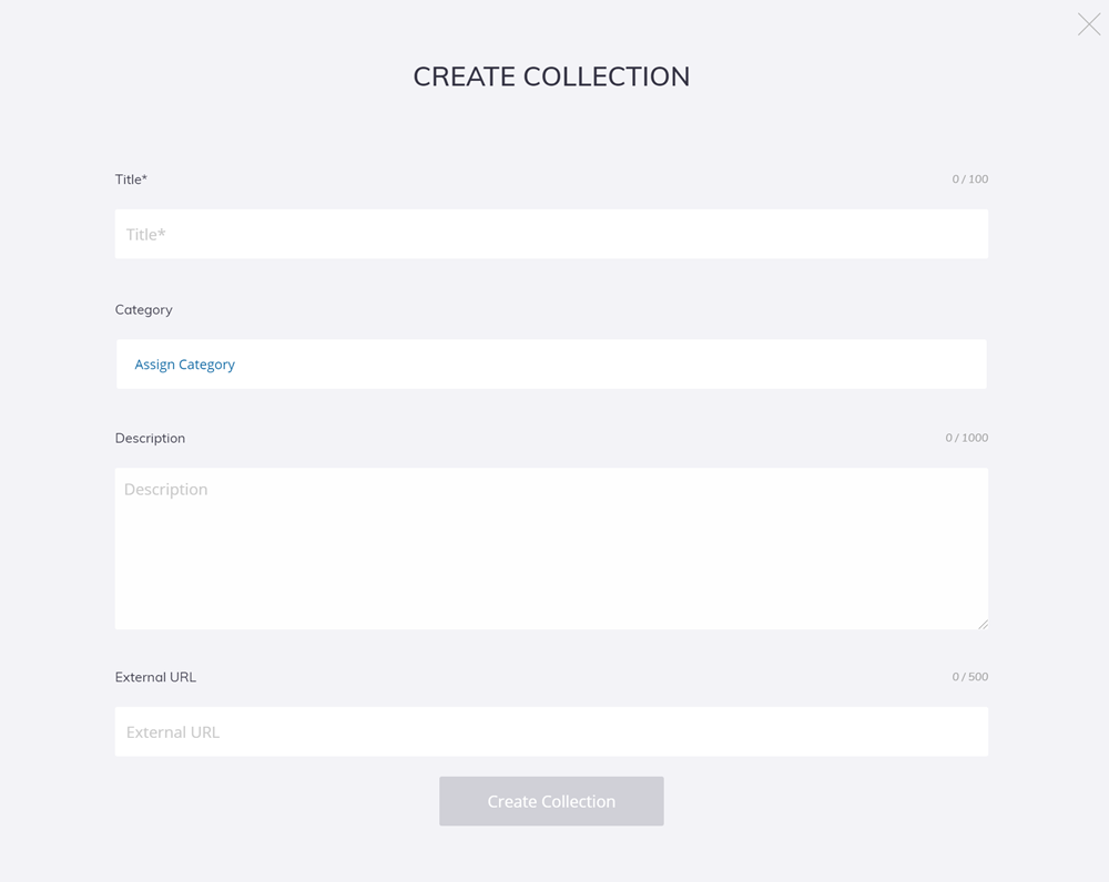 Start a new collection in 3D Warehouse on the Create a Collection page