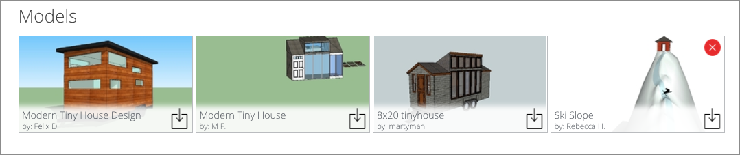 You can remove a model from a 3D Warehouse collection by clicking the red X