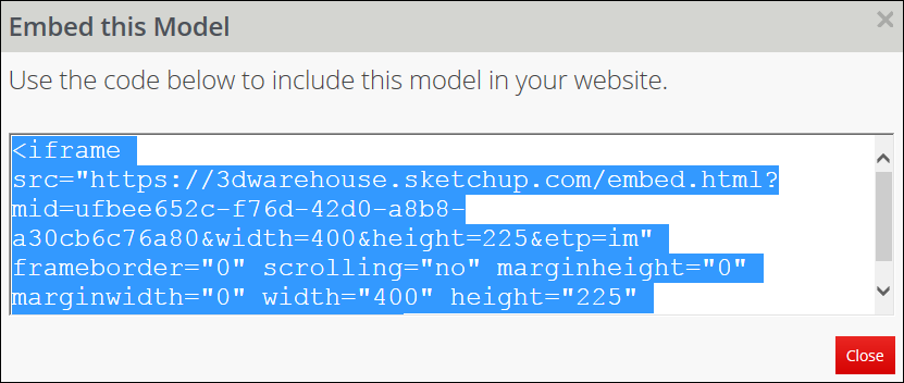 To share a 3D Warehouse model on a web page, copy the HTML code snippet