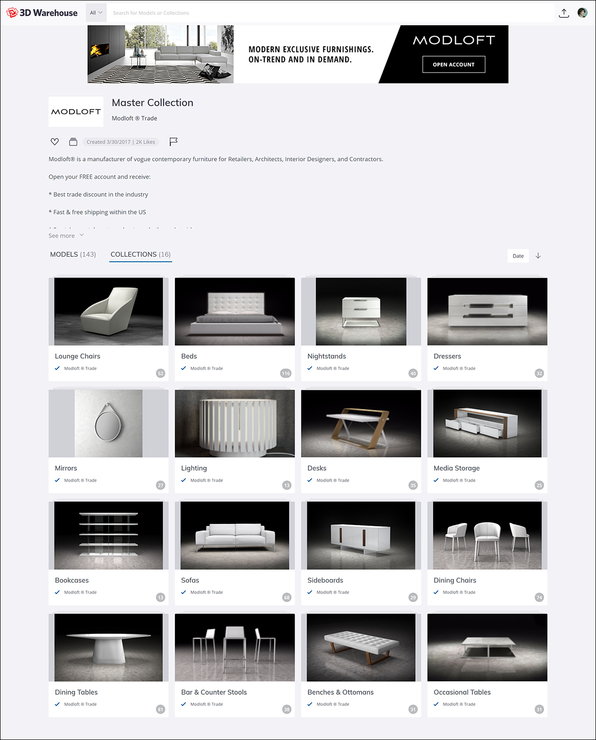 The 3D Warehouse catalog features showcase your company products