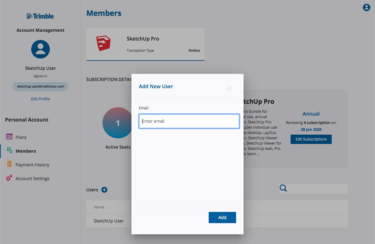 Account Management Portal | SketchUp Help