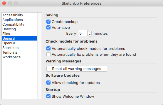 The General panel in the SketchUp Preferences dialog box