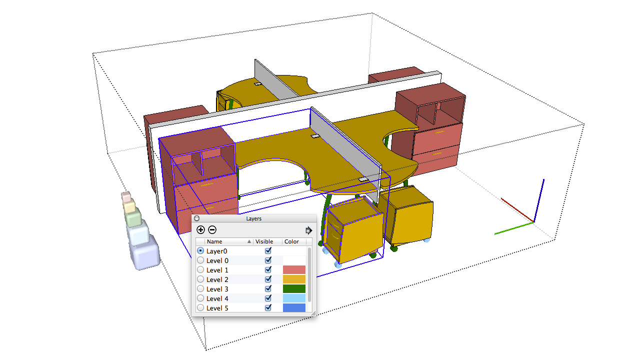 Working With Components In Sketchup Help Interior Car Parts Names Diagram Addition The Desk And Rolling File Cabinet Are Two Levels Deep Inside A Workstation Sub Component Castors Further Nested Yet Within