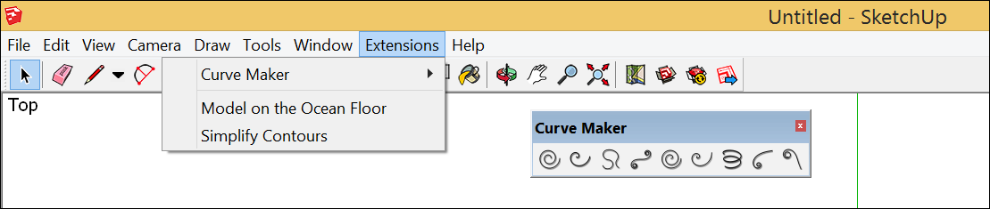 To start using a SketchUp extension, select it from the Extensions menu