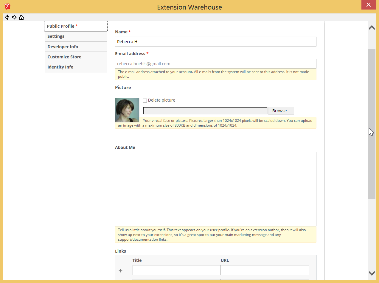 In the Extension Warehouse, customize your profile on the My Account pages Public Profile tab