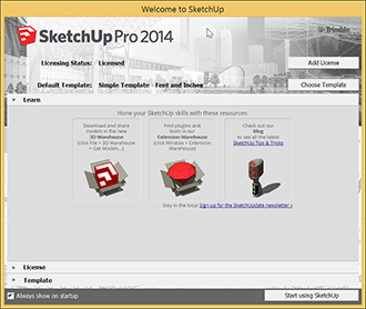 Welcome to SketchUp dialog box