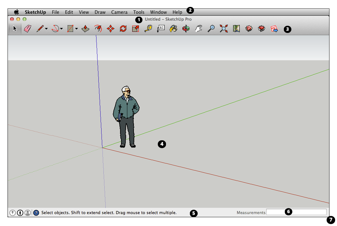 SketchUp interface in macOS