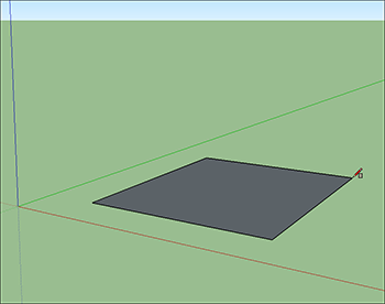 A rectangle drawn on the groundplane