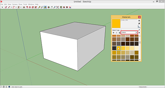 Select Colors in the Materials dialog box.