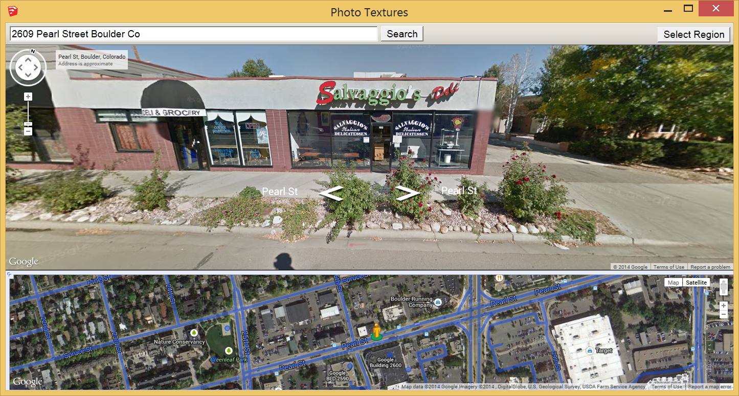 Google boulder address - In The Following Figure You See How The Photo Textures Windows Appears After Searching For 2609 Pearl Street Boulder Co