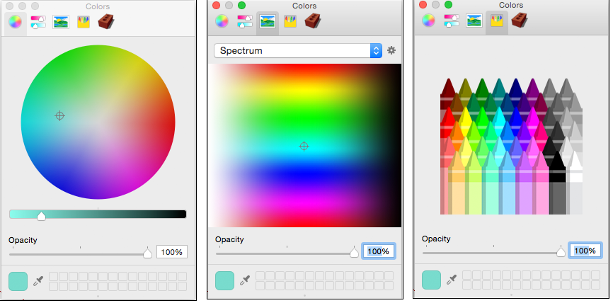 The Mac version of SketchUp also includes a Spectrum color picker and a  Crayons color picker, each of which offer a limited palette of color  options.
