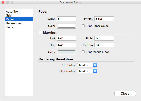 The Paper settings in the Mac OS Document Setup dialog box