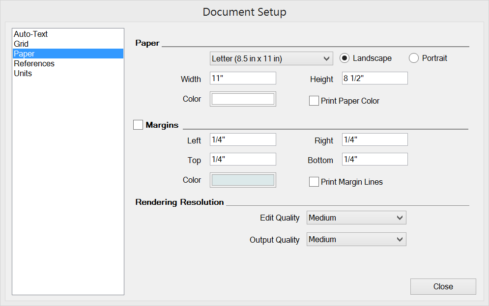 The Paper settings in the Microsoft Windows Document Setup dialog box