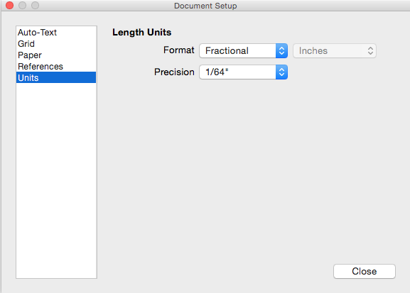 The Units settings in the Mac OS X Document Setup dialog box
