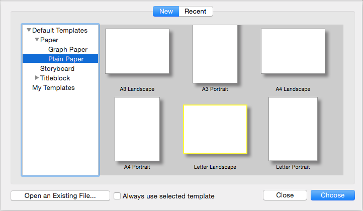 The LayOut Getting Started dialog box in Mac OS X