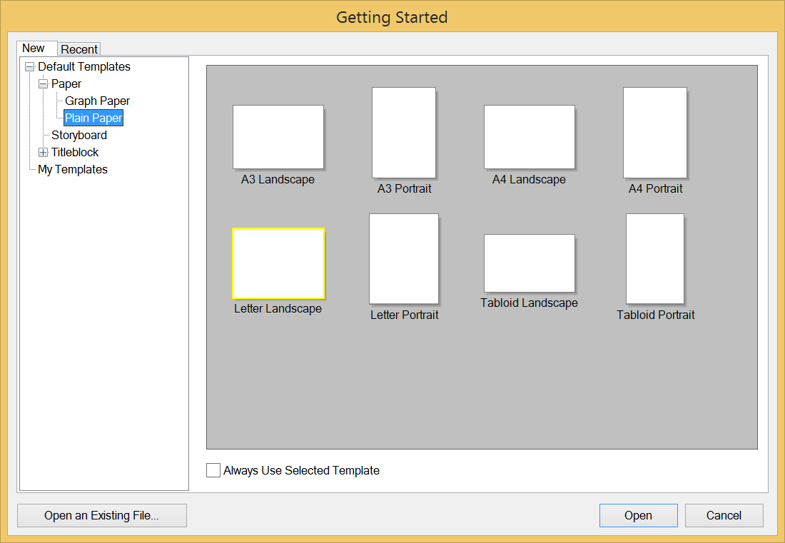 The LayOut Getting Started dialog box in Microsoft Windows