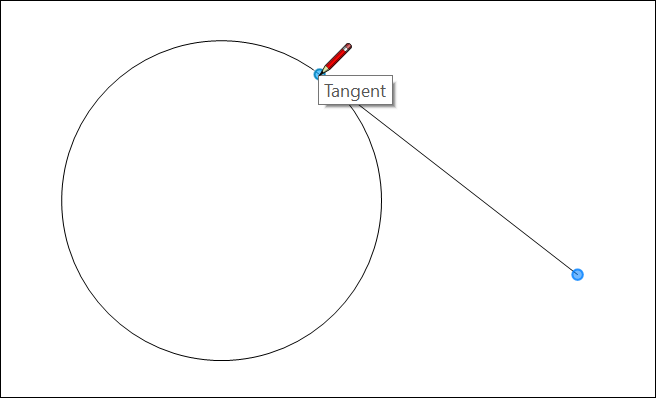 In LayOut, use the Tangent point inference to place a line precisely at a tangent