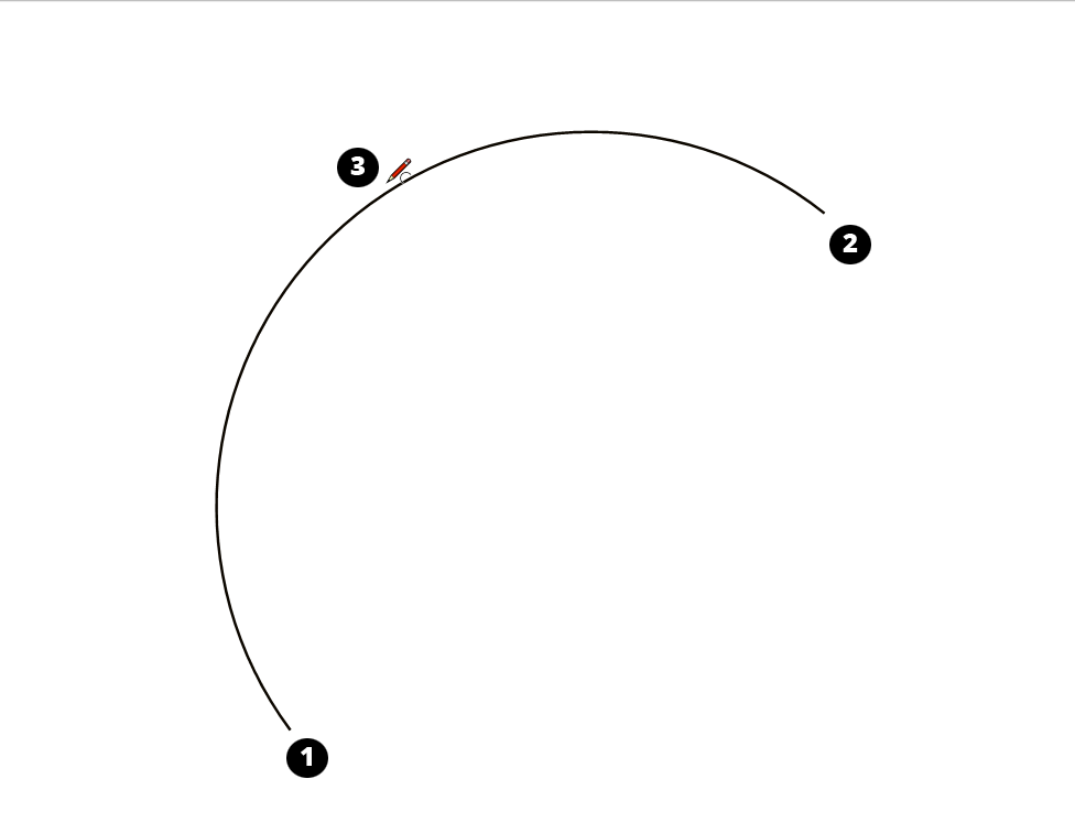 Draw an arc by pulling the bulge from a chord