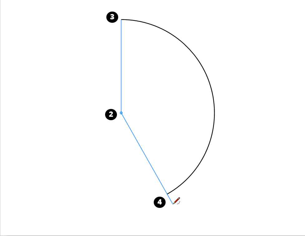 Draw an arc around a center point