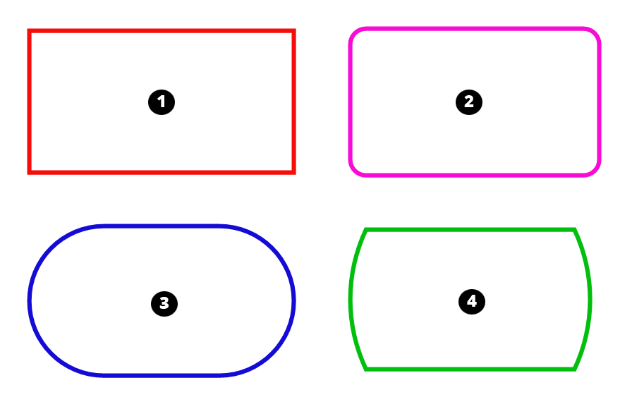 The different rectangle tools apply effects to the rectangle lines or corners