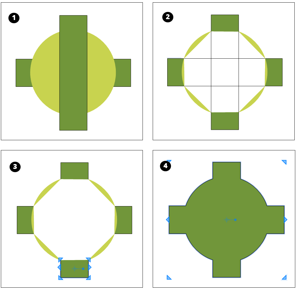 You can split and join simple shapes to create more complex shapes