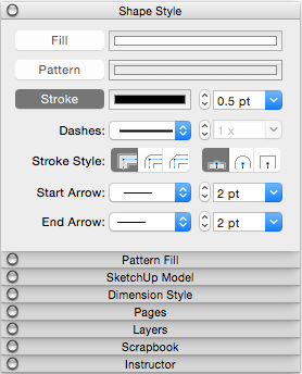 The Stroke settings on the Shape Style panel in Mac OS X