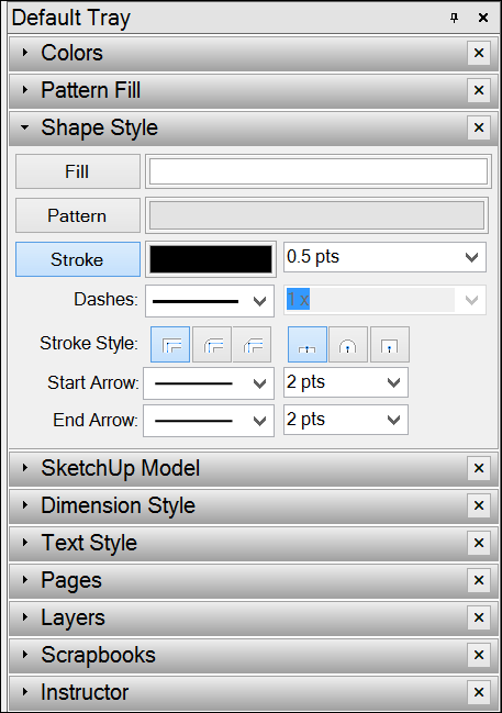 The Stroke settings on the Shape Style panel in Microsoft Windows
