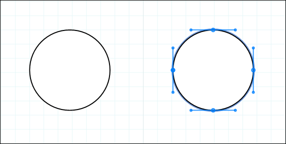 Double-click a LayOut drawing entity to see the curvature controls in the path editor.