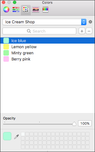 On the Color Palettes tab in LayOuts Colors panel, you can create a custom color palette.