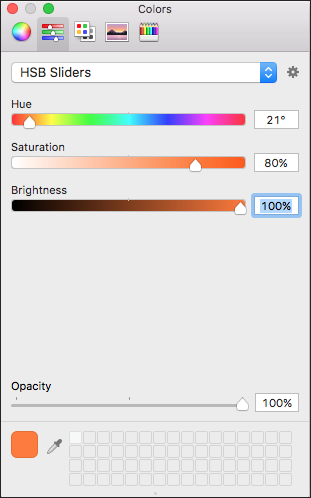 Drag the sliders or type a value to select precise HSB color values for your LayOut document.