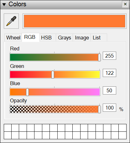 Drag the sliders or type a value to select precise RGB color values for your LayOut document.