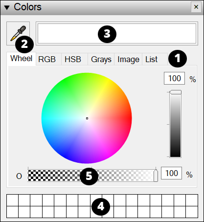 Some tools and features in the LayOut Colors panel are always at your fingertips.