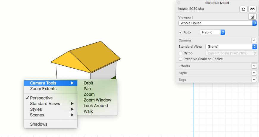 With a SketchUp model entity in Edit 3D View, context-click to select one of the Camera Tools right within LayOut.