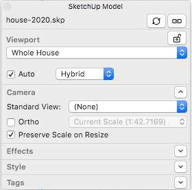 When your SketchUp model entity displays an orthographic view in LayOut, the Ortho button in the SketchUp Model panel is highlighted.