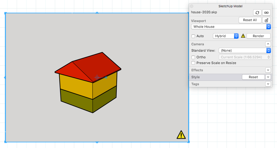 When a SketchUp model entity in a LayOut presentation needs to be rendered, a yellow warning icon appears.