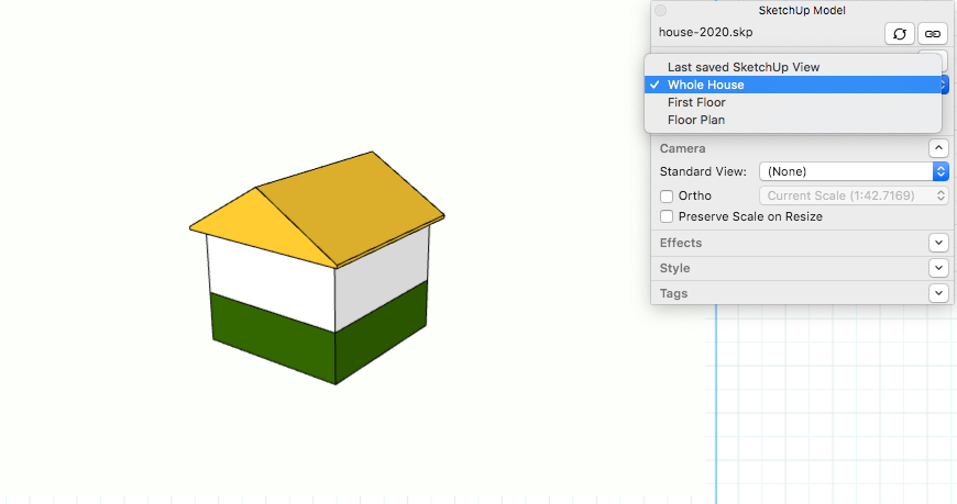 In LayOuts SketchUp Model panel, select a scene from the drop-down list.