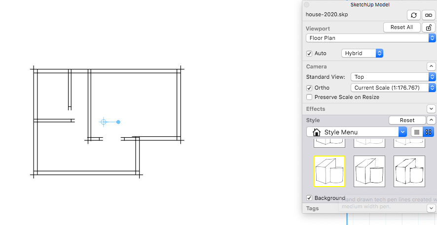In LayOut, select a style on the SketchUp Model panels Styles tab, and you see a preview in the drawing area.